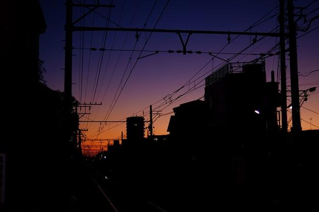 踏切の夕焼け