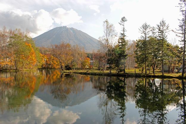 湧水池と羊蹄山