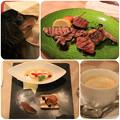 写真: 牛カイノミと牛タンのグリエ_マルジョレーヌ ピーナッツのグラス添え_珈琲