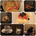 カニ茶漬け_バニラアイス 季節のフルーツ添え_珈琲