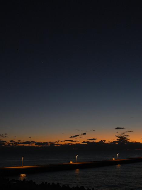 桟橋の明かり