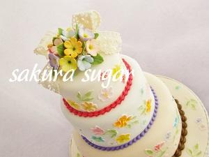 お花の3段ケーキ
