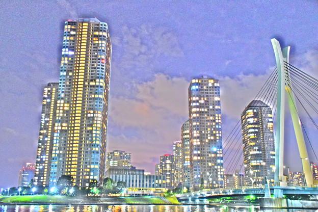 月島・中央大橋と高層ビル群と隅田川(4)