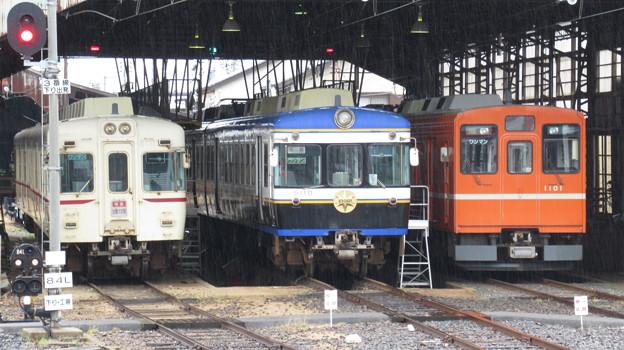 一畑電車2111F・5110F・1101F 3並び