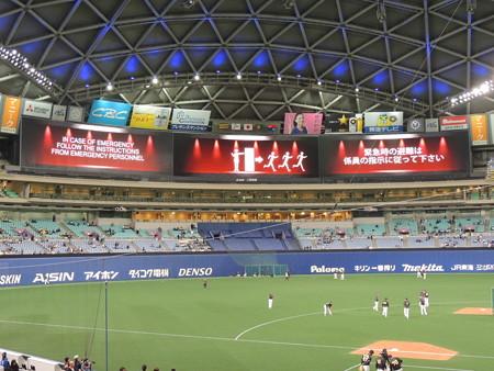 3/17(土) 阪神とのオープン戦で選手たちの試合前練習とか ドアラは動くLINEスタンプPR。