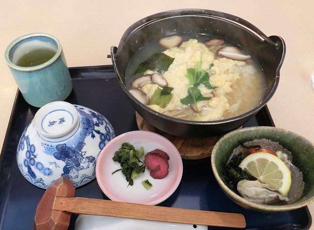 牡蠣雑炊と牡蠣レモン酢