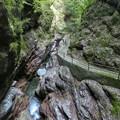 写真: 険しい中津渓谷