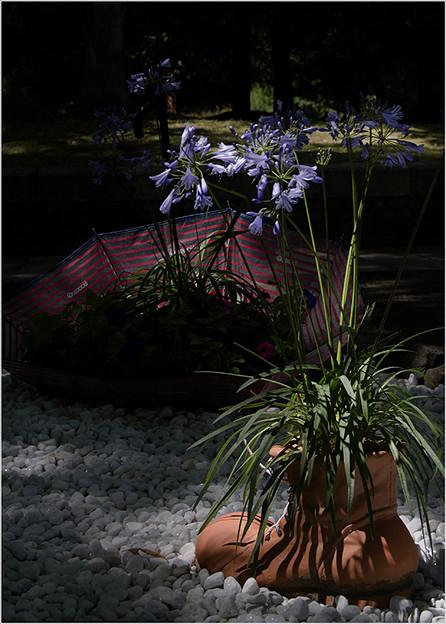 写真: ブーツと傘の花飾り