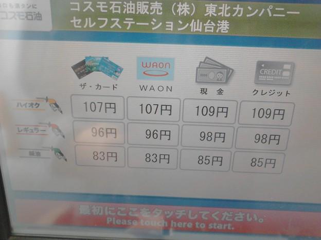 写真: 20160206 セルヴィス仙台港ガソリン価格