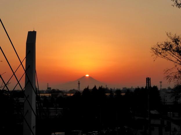 21日の夕景富士