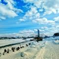 写真: 2月晴れの日・ミュンヘン大橋を望む~♪