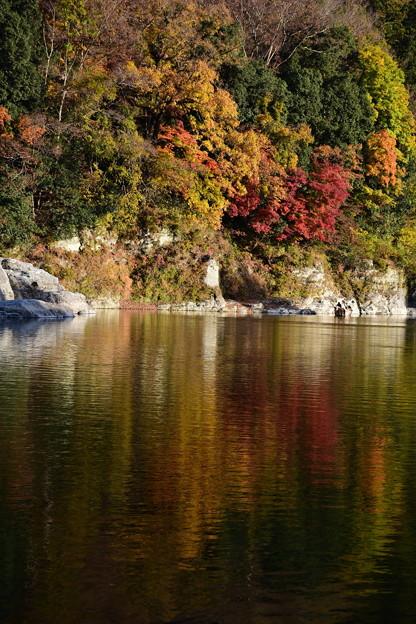 夕映えて 水面染めにし 秋の色