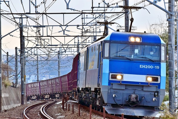 写真: Blue freight train