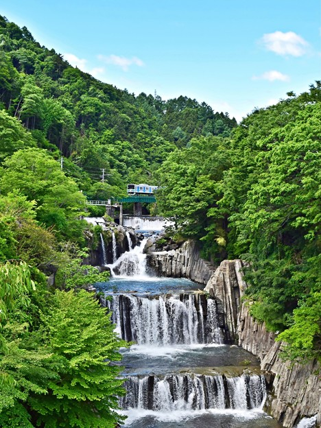 空と新緑と滝