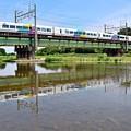 写真: 菱形模様の特急電車