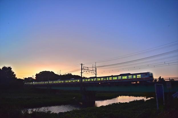 Photos: 朝焼け1番列車