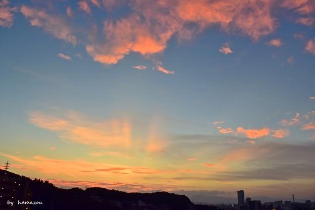 Photos: 光芒の夕焼け