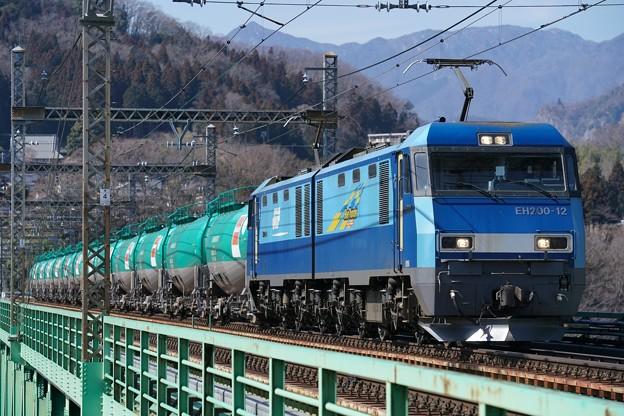 80レ EH200-12+タキ@新桂川橋梁