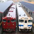 Photos: キハ47形 観光列車いさぶろうしんぺい&普通列車@吉松駅