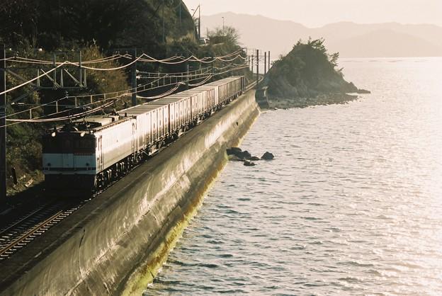 海岸寺の「お立ち台」を行く貨物列車