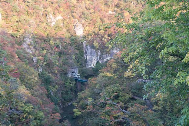 東北紅葉狩り【鳴子峡:電車と紅葉】