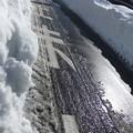 写真: ブルドーザーが通ったあとの道路