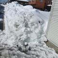 写真: 車庫の横の雪