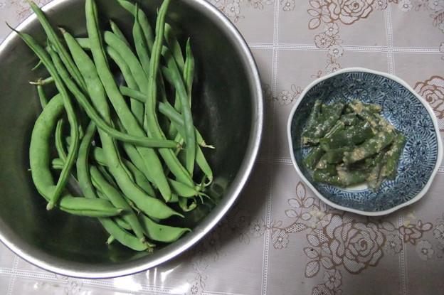 写真: インゲン豆とインゲン豆の胡麻和え