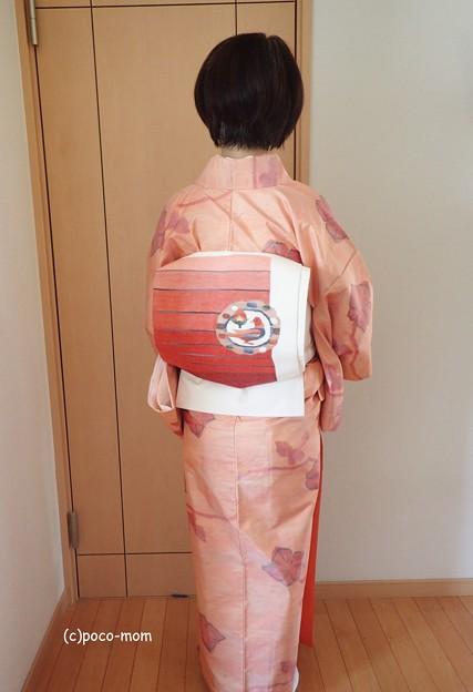 色大島紬 つづれ 二重帯 PA043114