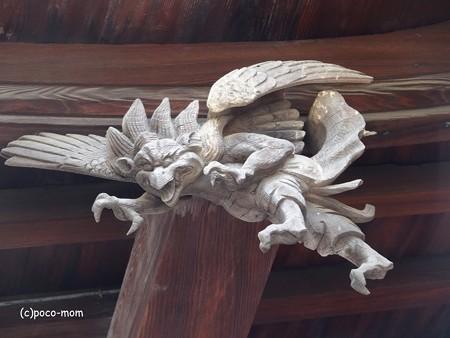 からす天狗 櫛田神社拝殿 破風飾り  PA110269