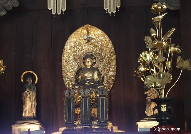 写真: 建仁寺法堂本尊釈迦如来座像と脇侍迦葉尊者・阿難尊者と双龍 P4081060