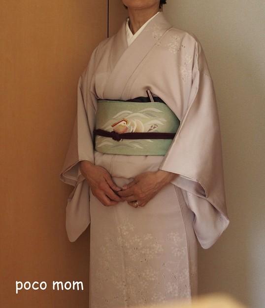 単衣の縮緬 塩瀬 加賀友禅のオシドリの柄の帯 P5060486