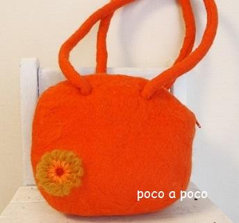 フェルトのオレンジバッグとポーチ b6