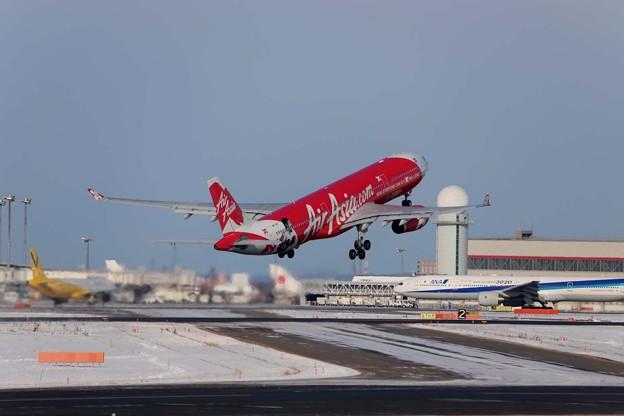 AIRアジア 千歳空港離陸