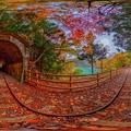 井川湖畔遊歩道(廃線小路) 紅葉 360度パノラマ写真(2) HDR