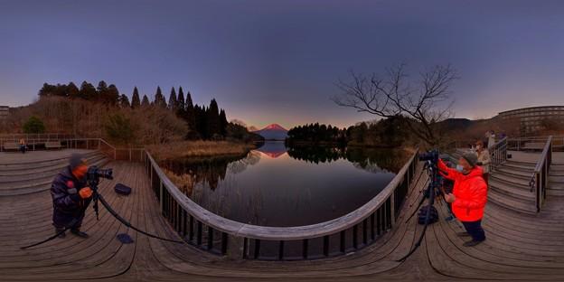 田貫湖より見る富士山、夕景 360度パノラマ写真