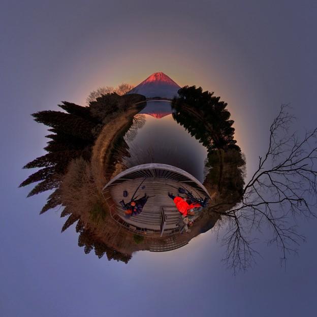 田貫湖より見る富士山、夕景 Little Planet