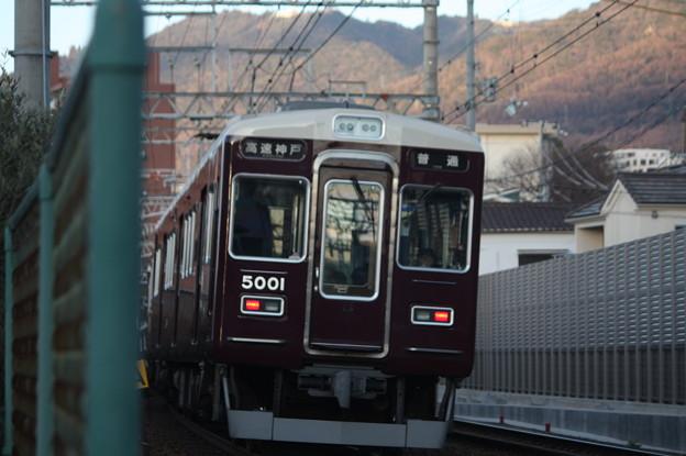 阪急神戸線 5000系5001F 普通 高速神戸 行