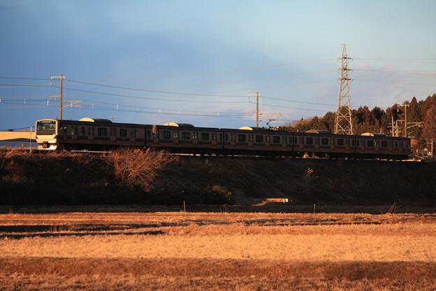 夕陽を浴びながら田園風景を行く水戸線E531系 (2)