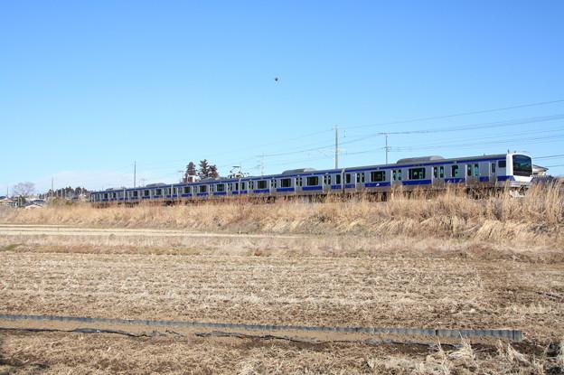 冬の田園風景を行く水戸線E531系 (3)