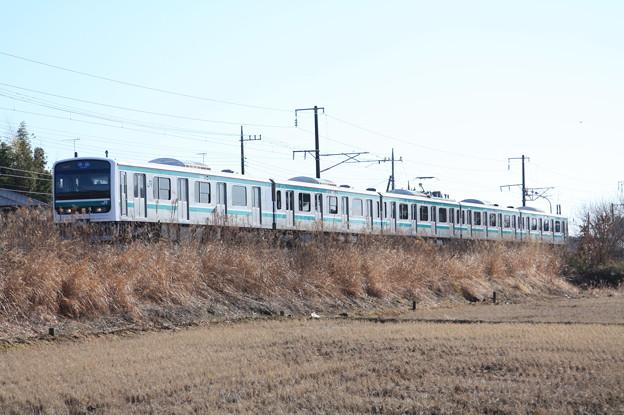 冬の田園風景を行く水戸線E501系 (1)