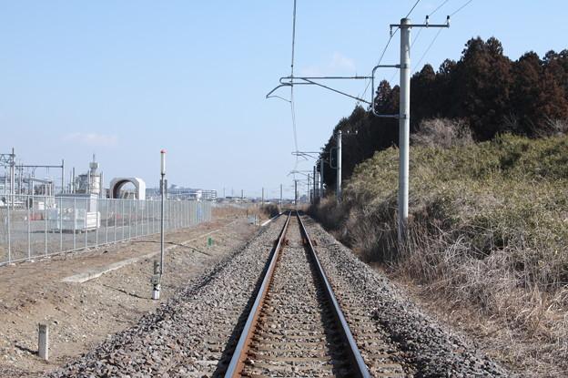 常磐線原坪踏切上りから線路を眺める (1)