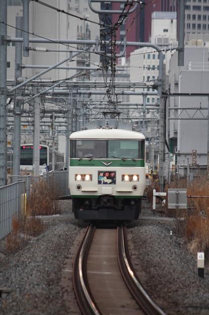 品川駅12番線に到着する185系B2編成踊り子