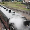 写真: 茂木駅構内でバックして入れ換えを行うSLもおかC12 66
