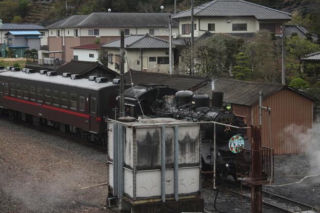 茂木駅構内で入れ換えを行い機回し線に入るSLもおかC12 66 (3)