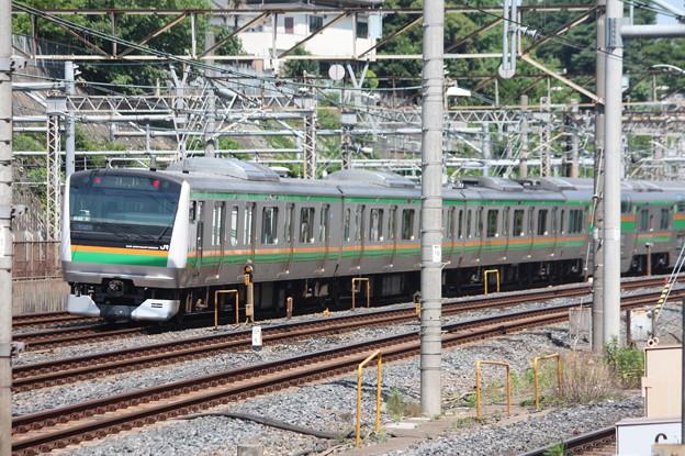 日暮里駅を通過する宇都宮線・高崎線E233系3000番台U622編成