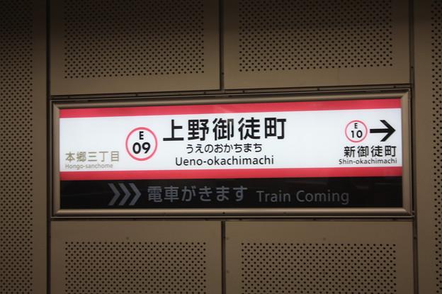都営地下鉄大江戸線 上野御徒町駅 駅名標