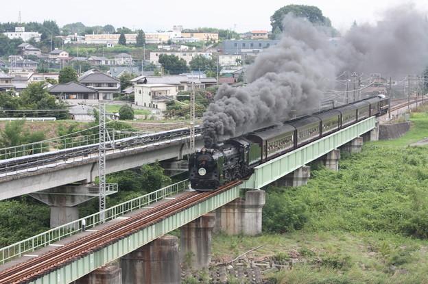 SLレトロ碓氷 D51 498+旧客6B+EF64 1052 安中鉄橋 (7)