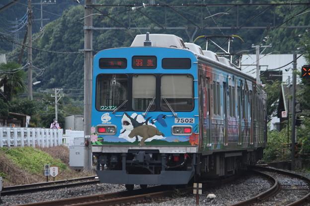 秩父鉄道秩父本線 7500系7502F 秩父ジオパークトレイン 波久礼駅発車 後追い (1)