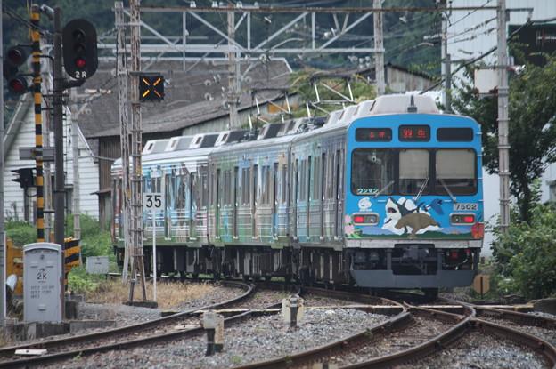 秩父鉄道秩父本線 7500系7502F 秩父ジオパークトレイン 波久礼駅発車 後追い (2)